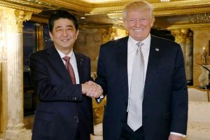 Japan PM Shinzo Abe meets Trump