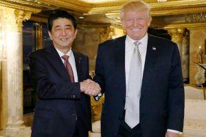 Japan PM Shinzo Abe meets Trump