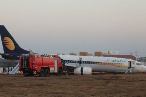 Jet Airways flight veers off runway,15 passengers injured