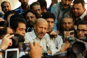 Engineer Rashid protests outside J-K assembly
