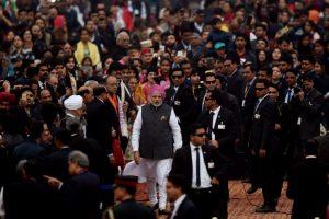 Modi walks on Rajpath as he greets nation on 68th Republic Day