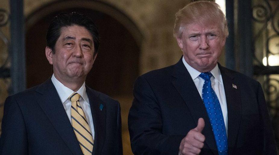 US President, Donald Trump, Japanese Emperor, Akihito, Shinzo Abe, Japanese PM, N Korea
