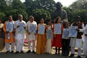 TMC MPs stage dharna against killings of Indians in US