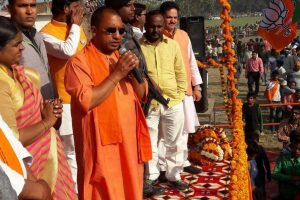 Swords, guns wielded at Yogi's Dussehra rally