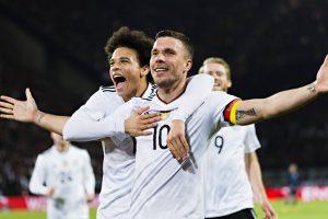 Lukas Podolski scores stunner in farewell game as Germany edge England