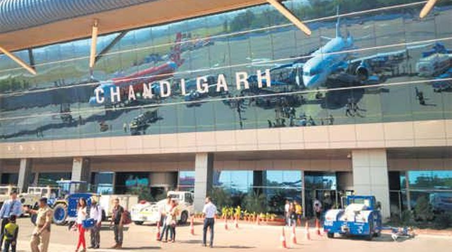 Chandigarh airport, flights suspended, low visibility, Dust