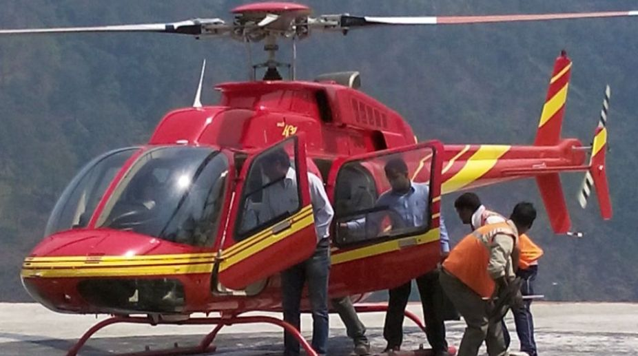 Chopper landing in Kedarnath, Over 91,000 pilgrims used helicopters for the trip to Kedarnath last year