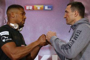Anthony Joshua, Wladimir Klitschko meet in heavyweight battle of ages