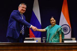 Sushma meets Russian leader Rogozin, holds bilateral talks