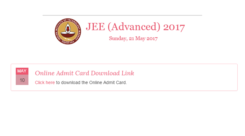 Downlaod Jee Advanced Admit Card 2017 For Paper I Amp Paper