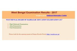 West Bengal Board of Madrasah Education declared High Madrasah, Alim, Fazil results 2017 at wbresults.nic.in