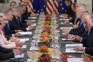 Donald Trump meets EU leaders in Brussels