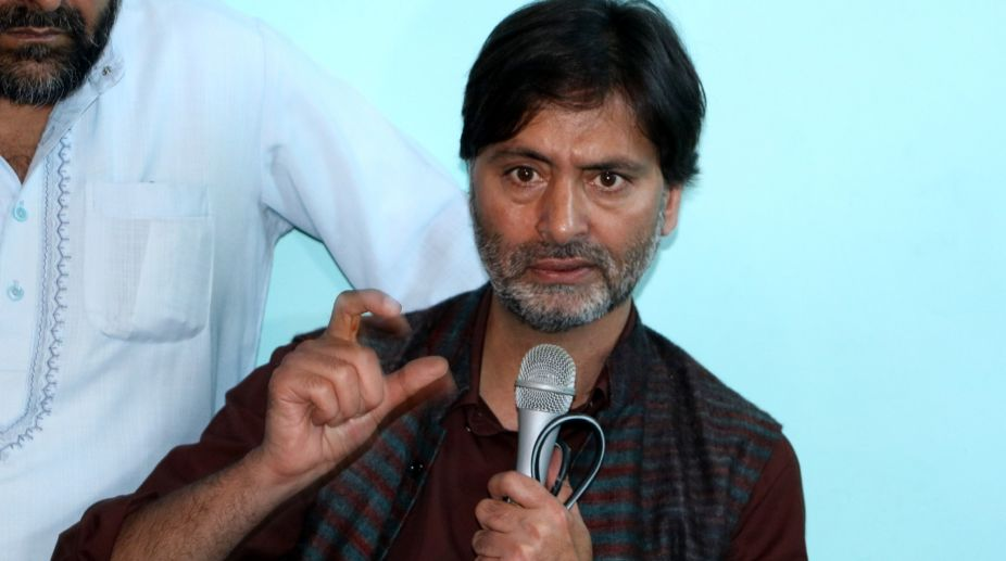 JKLF Chief Yasin Malik leads protest in support of Article 35A
