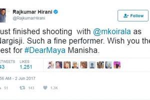 Manisha Koirala's such a fine performer, says Rajkumar Hirani