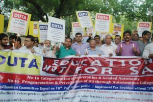 DUTA protests UGC move to categorise varsities based on NAAC, NIRF rankings