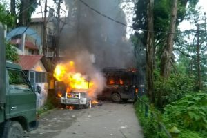 Darjeeling on the boil again, car torched