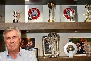 Bayern Munich manager Carlo Ancelotti showcases his impressive trophy collection