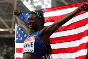 Bowie wins women's 100m world title, Thompson flops