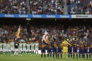 Barcelona honour terror attack victims in Betis win