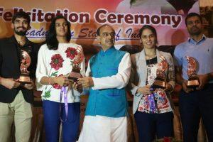 Sindhu, Saina, Srikanth felicitated by Sports Minister