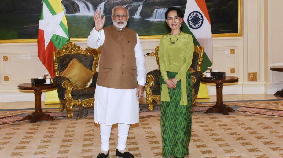 Narendra Modi, Rohingya, India, Myanmar, Aung San Suu Kyi