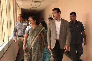 Sports Minister Rajyavardhan Singh Rathore's surprise visit at JN Stadium