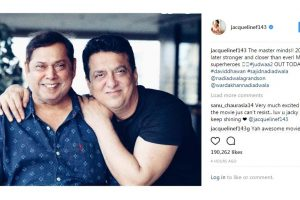 Jacqueline Fernandez gives a shout out to the 'Judwaa' superheroes!