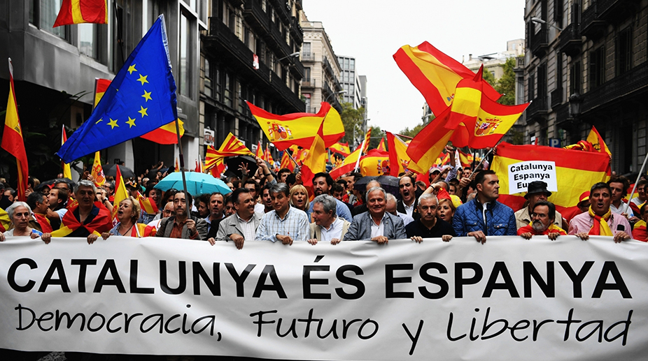 People take to the streets to defend Spain's unity