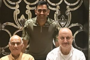M S Dhoni strikes a pose with reel and real life dad