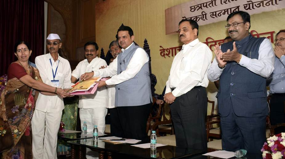 Maharashtra CM Devendra Fadnavis during a programme organised to start the loans waiver process (Photo: IANS)