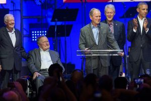 Five ex-US Presidents share stage at hurricane relief concert