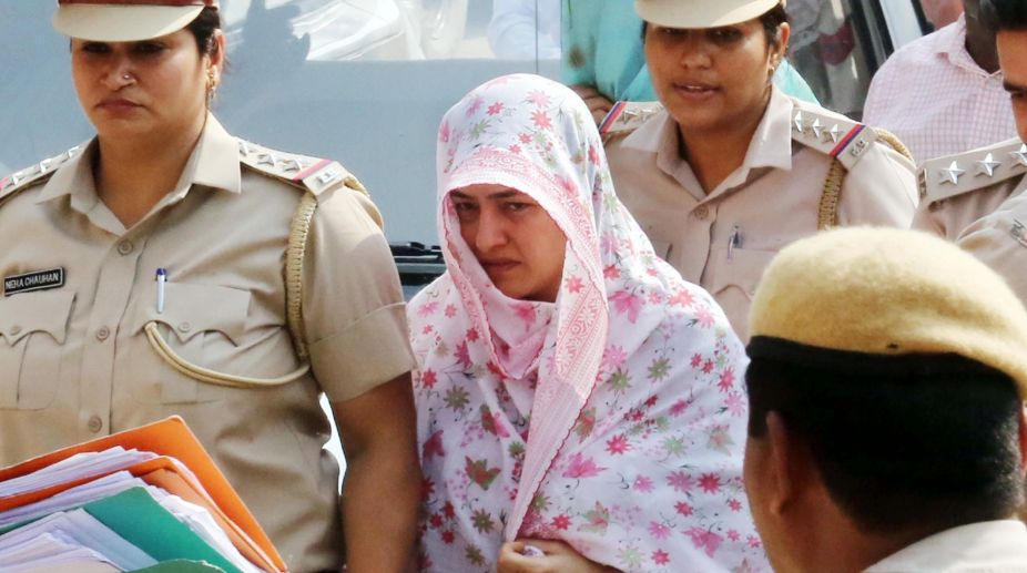 Honeypreet Insan being produced before a court in Panchkula.