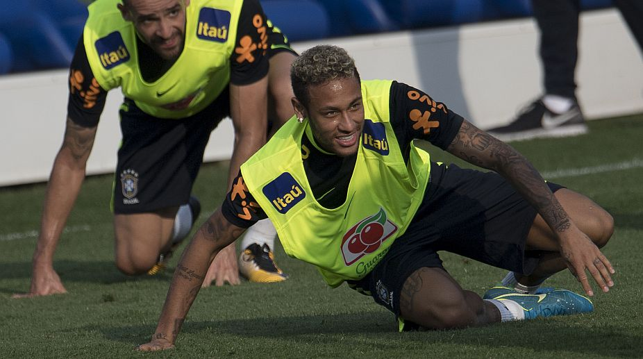 Brazil's Neymar attends a training session at the Granja Comary sport complex (Photo: AFP)