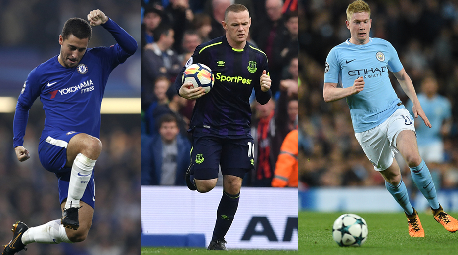Premier League, Wayne Rooney, Manchester City FC, Eden Hazard, Chelsea FC, Everton FC, Kevin De Bruyne