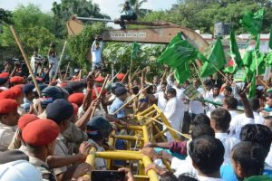 RJD workers protesting Srijan scam in Bihar lathi-charged