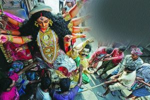 Communal harmony, anti-terrorism highlight of Kolkata's Durga Puja immersion carnival