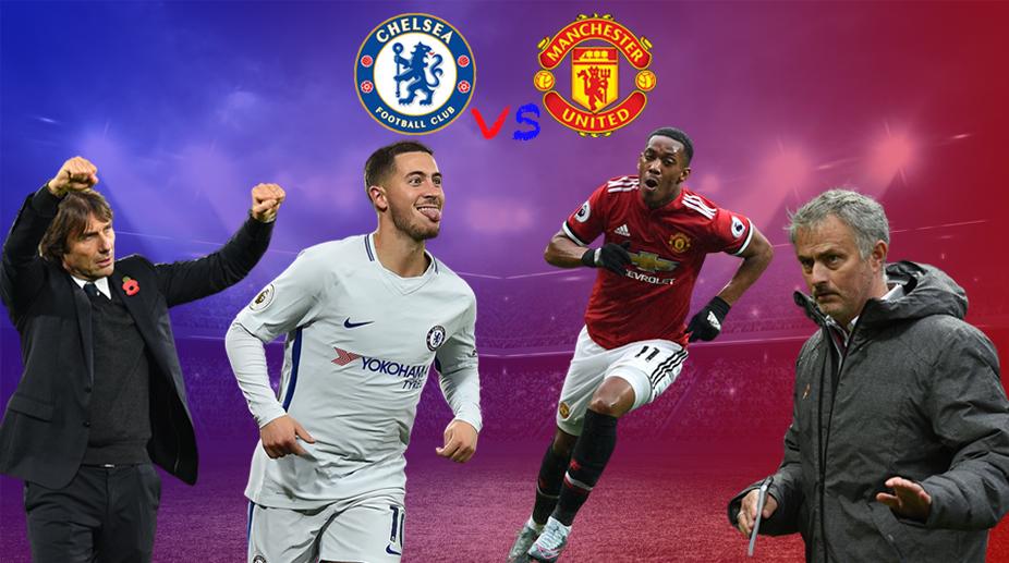 Chelsea vs Manchester United, Chelsea F.C., Premier League, Manchester United F.C., Antonio Conte, Eden Hazard, Jose Mourinho, Anthony Martial