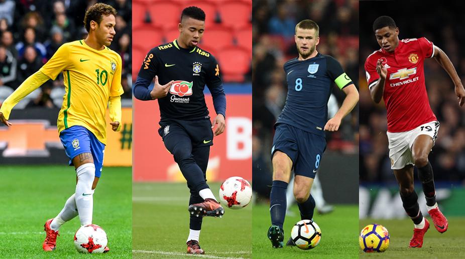 Neymar, Gabriel Jesus, Eric Dier, Marcus Rashford, England vs Brazil