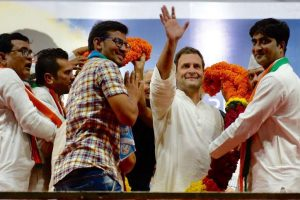 Celebrations begin at Congress headquarters ahead of Rahul's coronation