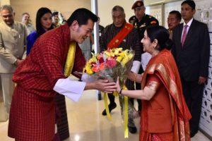 Sushma Swaraj calls on Bhutanese King