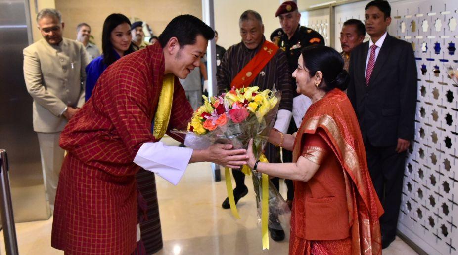 Sushma Swaraj, Bhutanese King, External Affairs Minister, Khesar Namgyel Wangchuck, goodwill visit