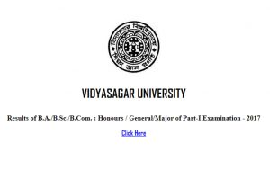 Vidyasagar University results 2017 announced online at vidyasagar.ac.in   Check BA, BCom, BSc part 1 results now
