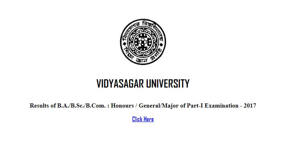Vidyasagar University results 2017, vidyasagar.ac.in, BA, BCom, BSc part 1