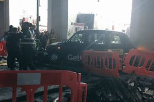 Several injured as taxi crashes into crowd in London