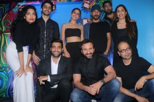 Saif Ali Khan, Akshay Oberoi at the trailer launch of 'Kaalakaandi'