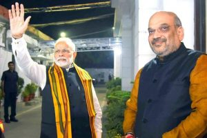 Shah makes Rajya Sabha debut, sits with PM Modi in front row