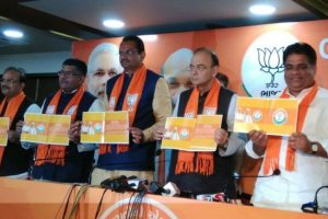 Day before Gujarat polls, BJP releases election manifesto
