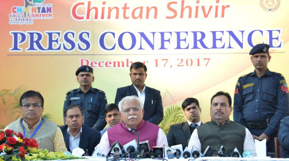 Manohar Lal Khattar, Chintan Shivir, Haryana Govt, Haryana Development