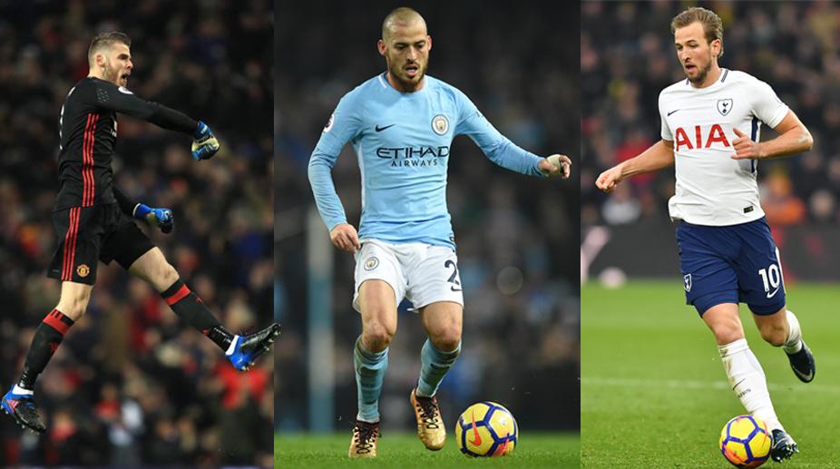 David de Gea, David Silva and Harry Kane, Premier League Team of the Season, Premier League, Manchester City F.C., Manchester United F.C.