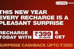 Reliance Jio brings new Rs. 3300 cashback offer on Rs. 399 recharge